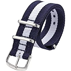Sport Watch Band - TOOGOO(R)20mm Blue & White Army Nylon Sport Watch Band Straps For Men Women