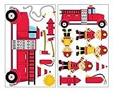 plot4u 17-teiliges Feuerwehr Wandtattoo Set F...Vergleich