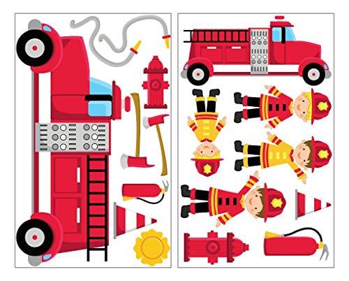 feuerwehr wandsticker plot4u 17-teiliges Feuerwehr Wandtattoo Set Feuerwehrauto Wandsticker in 5 Größen (2x16x26cm Mehrfarbig)