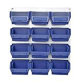 Blau Metallhalterung Halterung Metall Wandregal Schraubenkisten 13 tlg mit Stapelboxen Werkstattwand
