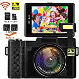 Videokamera Camcorder, DIWUER WiFi Digitalkamera Recorder, 24.0MP Full HD 1080P Flip Screen Vlogging Kamera mit Taschenlampe, 16 GB SD-Karte and Zwei Batterien