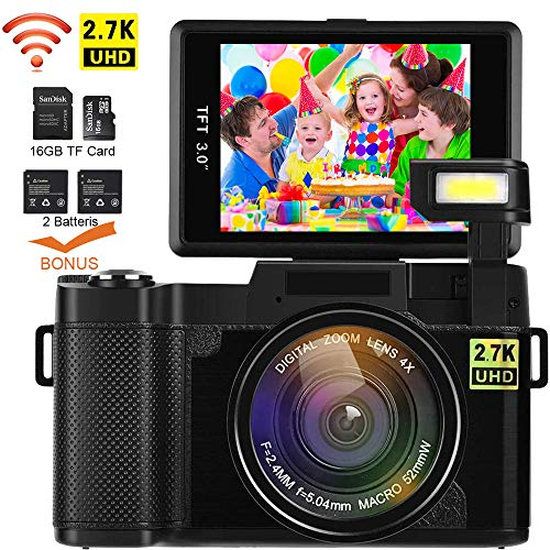 r, DIWUER WiFi Digitalkamera Recorder, 24.0MP Full HD 1080P Flip Screen Vlogging Kamera mit Taschenlampe, 16 GB SD-Karte and Zwei Batterien ()