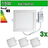 LEDVero SMD 2835 ultrafina 3 x Panel LED, 15 W, cuadrado lámpara de techo empotrables en foco, luz blanca fría SP199