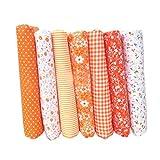 Topker 7pcs tela de tela de artesanía de tela de tela de algodón tela de remiendo de tejido tela de DIY de costura de acolchado patrón floral
