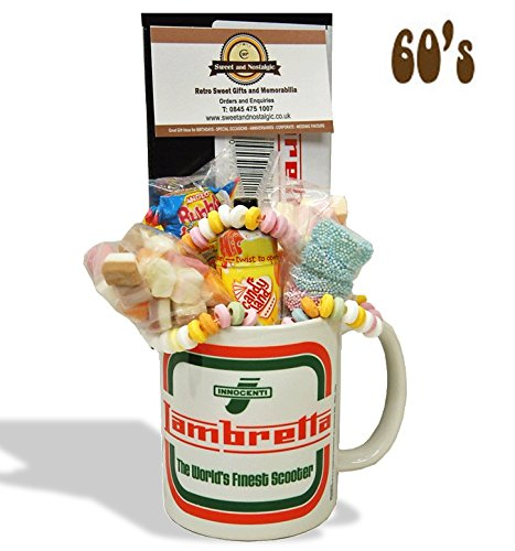 Lambretta Innocenti Mug with a Scooter full of 60's retro sweets.