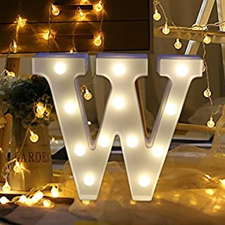 erthome 26 English Alphabet Lights LED Light Up White Plastic Letters Standing Hanging A-Z Home Decor Wall Light (W)