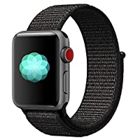 ‏‪Nylon Sport Band for Apple Watch 44mm 42mm, Soft Replacement Strap for iWatch Series 4/3/2/1 (Black)‬‏