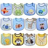 Tomkity 10x Impermeables Baberos del Bebé Baberos Bandana para Niño (12 baberos-A)