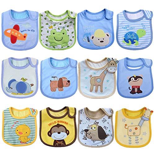 Tomkity 12 Bavaglini Neonato Impermeabili Bambino Bandana Drool Bavaglini Panno per Ruttino Neonato (12pz-unisex-A)