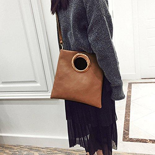 Milya Damen Clutch Herbst und Winter Trend Elegante Moderne Damen Brieftasche Ledertasche Abendtasche Weichen PU Leder, Schwarz Khaki