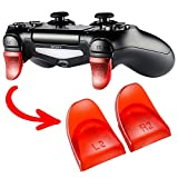 eXtremeRate® 2 Paar PS4 Dualshock 4 Buttons Trigger Tasten Set L2 R2 Schultertasten Ersatzteile Zubehör für PlayStation 4 PS4 JDM-030 Controller(Rot)