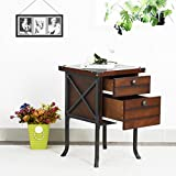 Fanilife Bedside Table with 2 Drawers Cabinet Side Table Wood Style Storage End Lamp Coffee Telephone Desk Unit Stand 40x40x60CM