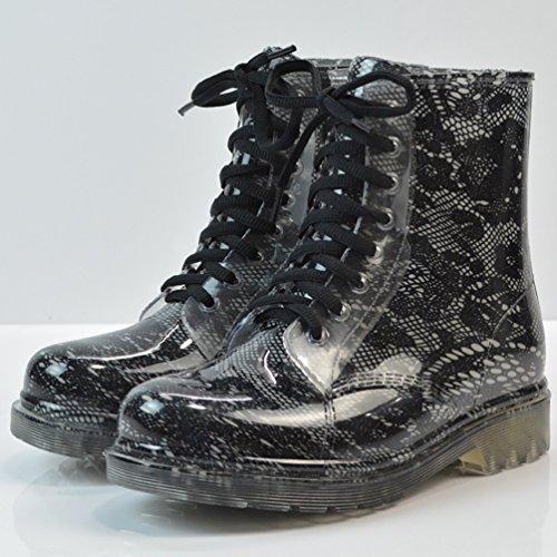 LvRao Damen Wasserdichte Schnürschuhe Kurz Boots Schnee Regen Booties Casual Garten Stiefel Gummistiefel Schwarz 2