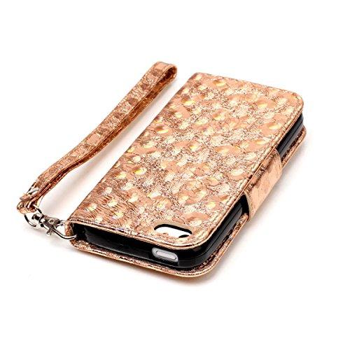 iPhone 5s Brieftasche, iPhone 5 Leather Case, Lifetrut [Bling Bling Schmetterlinge] Magnetische Schutzleder Flip Cover und Stand Brieftasche Hülle Folio für iPhone 5s 5 [Gold] E203-Gold