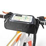 ANSUG Fahrradrahmentasche, Wasserdichte Fahrradlenkertasche Multifunktionale Fahrradtasche mit Touchscreen-transparentem Fenster - Smartphones-Halter Perfekt für Universalhandys (5,5 Zoll)