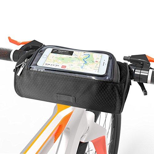 asche, Wasserdichte Fahrradlenkertasche Multifunktionale Fahrradtasche mit Touchscreen-transparentem Fenster - Smartphones-Halter Perfekt für Universalhandys (5,5 Zoll) ()