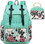 BLUBOON 1039,  Unisex-Erwachsene Daypack Gr. 12*17.8*6.5 inches, W-Blue Flower+Lunchtasche