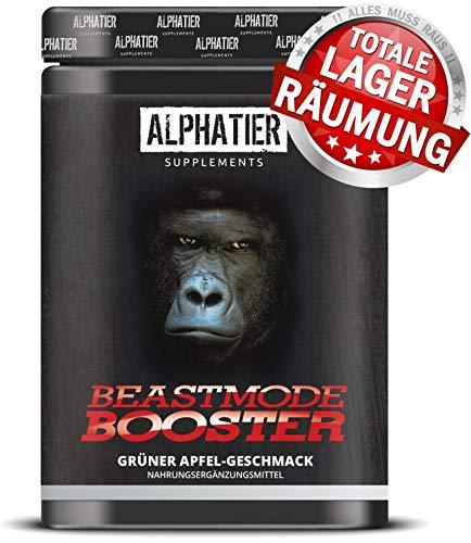 BOOSTER XXL - 500g - Pre-Workout Shake - ALPHATIER BEASTMODE Pump-Booster mit Koffein, L-Citrullin, L-Arginin, Creatin, Beta-Alanin für Fitness & Training - Grüner Apfel-Geschmack