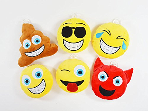 BUSDUGA - Emoticon Kissen mit Saugnapf , ideal fürs Auto - wählen Sie ihre Emotion ( 16cm ) (Sonnenbrille)