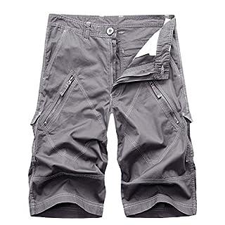 AYG Herren Cargo Shorts Bermudas Schwarz Baumwolle Shorts Wandern 29-40 (W38(DE 54/XXL)/Taille:96-97cm, Grau(Light Gray)#036)