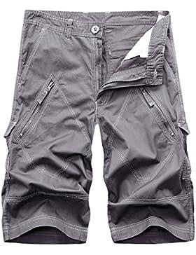 AYG Herren Cargo Shorts Bermudas Schwarz Baumwolle Shorts Wandern 29-40
