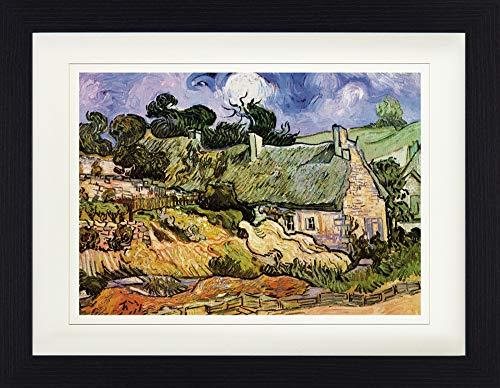 1art1 113172 Vincent Van Gogh - Strohgedeckte Hütten In Cordeville, Auvers-Sur-Oise, 1890 Gerahmtes Poster Für Fans Und Sammler 40 x 30 cm