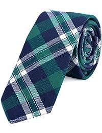 ab5804f8a6e07 DonDon Fine cravate de coton avec rayures et carreaux pour hommes 6 cm