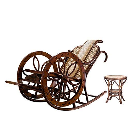 Naturel bambou - rotin osier ensemble de rocking chair / chaise à bascule / fauteuil à bascule / longue / relax fauteuil / relax chaise / siège / chaise / table basse / table de thé / côté table / table de fin