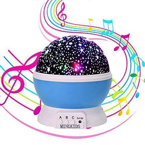 Musik Sterne Projektor,360 Grad Romantische Lampe,Sternenhimmel Nachtlicht mit Musik Kugel-Lampe Deckenprojektor Lichtprojektion Schlummerlicht Starlight Lichtfunktion (Blau mit Musik)