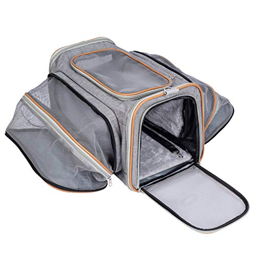Pet-U Transportbox Rucksack, Faltbare Transporttasche für Katze und Hunde im Flugzeug, Auto oder in der Bahn, 44.5x38x28cm Max. (Grau)