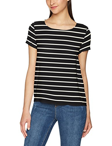Only Onlfirst Ss Mix Aop Top Noos Wvn, T-Shirt Femme Multicolore (Black Stripes:w.cloud Dancer Stripes)