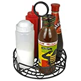 BarBits Black Wire Condiment Holder | Holds Menu Card In Handle Counter Tidy Caddy Rack