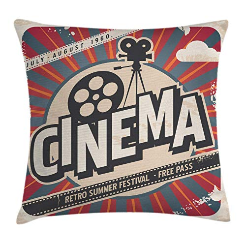 Vintage Throw Pillow Cushion Cover, Retro Cinema Movie Vintage Paper Texture Hollywood Stars Decorative Image, Decorative Square Accent Pillow Case, 18x18 inches(45x45cm), Ecru Brown Red ()
