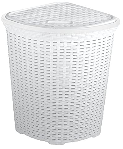 FunkyBuys® Large Corner WHITE Faux Rattan Laundry & Washing Basket