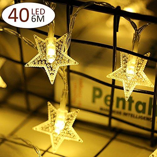 FITFIRST Cuerda Luces de Estrella con Adaptador de 40 LED 6M Iluminación DIY LED Decoración de Navidad y Otras Fiestas Interior