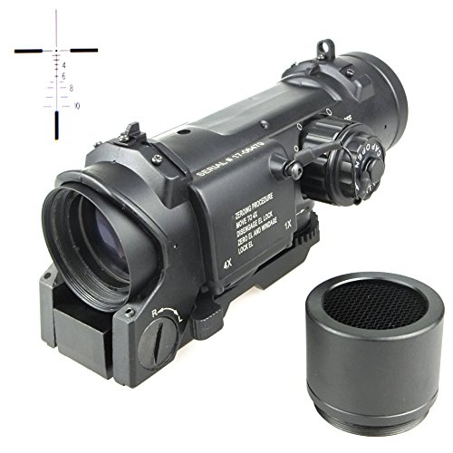 1 Dot Red Moa Sight (Military Tactical Airsoft 1-4X Lupe Dual Rolle Elcan Style Red Dot Sight Scope mit MOA Mini Red Dot SCHWARZ)