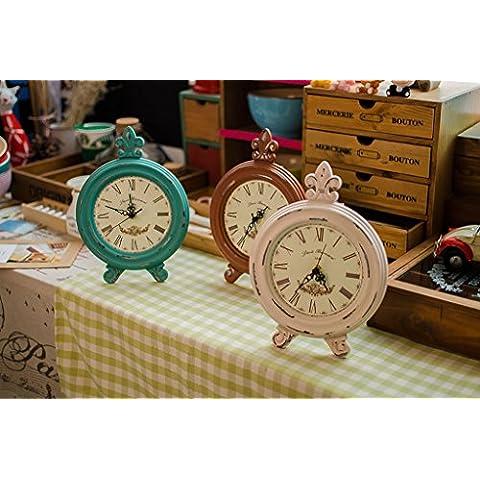 Al estilo europeo de la nostalgia retro, relojes, reloj, casa habitación, reloj de mesa, sala de estar creativa adornos recepción de botones