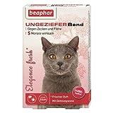 beaphar Elègance fresh Ungezieferband Katze | 5 Monate Zecken- & Flohschutz | Mit Sicherheitsverschluss | Frischer Duft | Farbe: Hellrot | Länge: 35cm