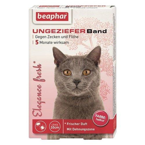 Elègance fresh Ungezieferband Katze | 5 Monate Zecken- & Flohschutz | Mit Sicherheitsverschluss | Frischer Duft | Farbe: Hellrot | Länge: 35cm