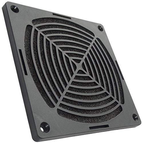 Aerzetix: Schwarz Schutzgitter Lüftungsgitter 120x120mm Ventilation mit Filter Staub für Lüfter Gehäuse Computer PC C15111 -