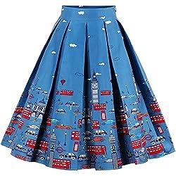 Eudolah Mujeres Vintage Vintage Swing Full Circle plisadas faldas carro azul M