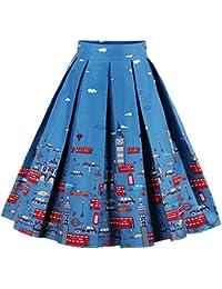 Eudolah Mujeres Vintage Vintage Swing Full Circle plisadas faldas