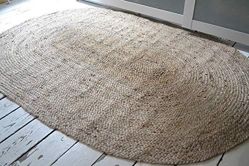 Rugsite Teppich, 100% Jute, oval, 150 x 215 cm Natürlicher geflochtener Flor. Amerikanischer Stil. Küchen, Wintergärten Großbritannien. - Jute-teppich Oval