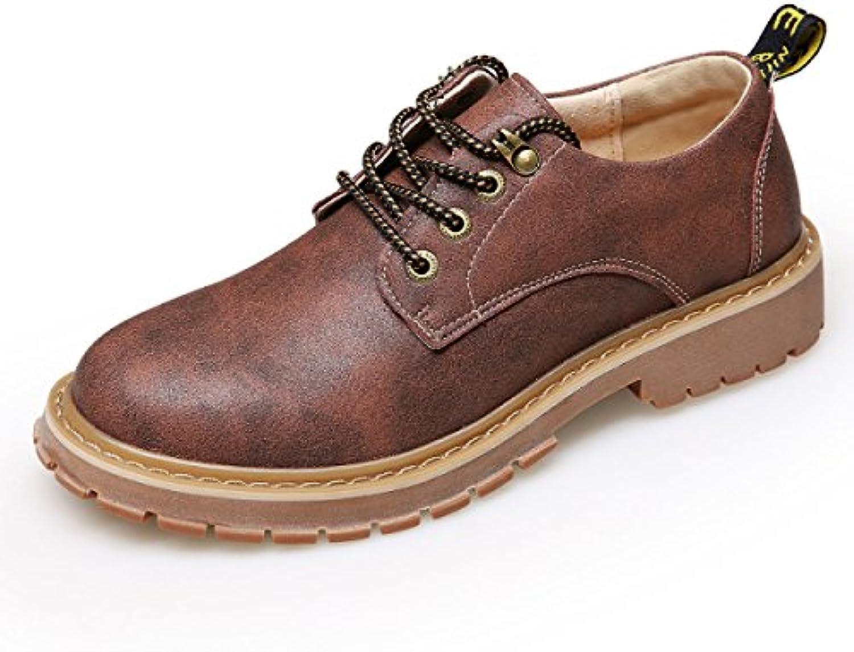 LYZGF Hombres Juventud Otoño / Invierno Casual Retro Moda Cordones Zapatos De Cuero,Brown-38  -