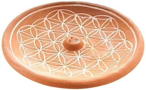 Berk - Inner Worlds Flower of Life Ceramic Incense Holder, Brown