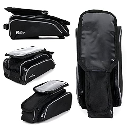 Shockproof Bicycle Front Frame Saddle Bag with Double Pouch for the LG Q8 - by DURAGADGET