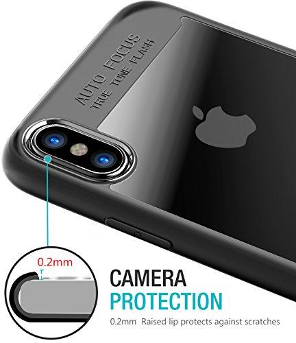 iPhone X Hülle, TOZO PC + TPU Durchsichtig Transparent Ultra Dünn Hardcover Bumper Schutzhülle für iPhone 10 / X Case Cover (Schwarz) edge Black