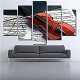QWERGLL Toile imprimée 5 Panneaux 5 Pièces Mur Art Modulaire Photos pour Salon Musique Partition Et Violon HD Toile Peintures Décor À La Maison Posters...