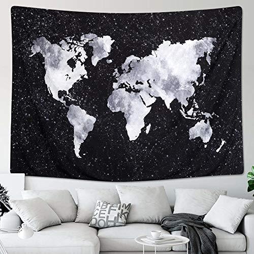 Qftz dremisland tapestries world map hanging tapestry decorazione murale carta bianca e nera tapestrys tapisserie retro dorm room decor