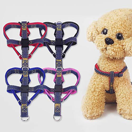 Gracorgzjs 3Pcs Elastic Pet Dog Puppy Denim Leash Chest Strap Collar Outdoor Walking Rope-Pink XL Brush-denim